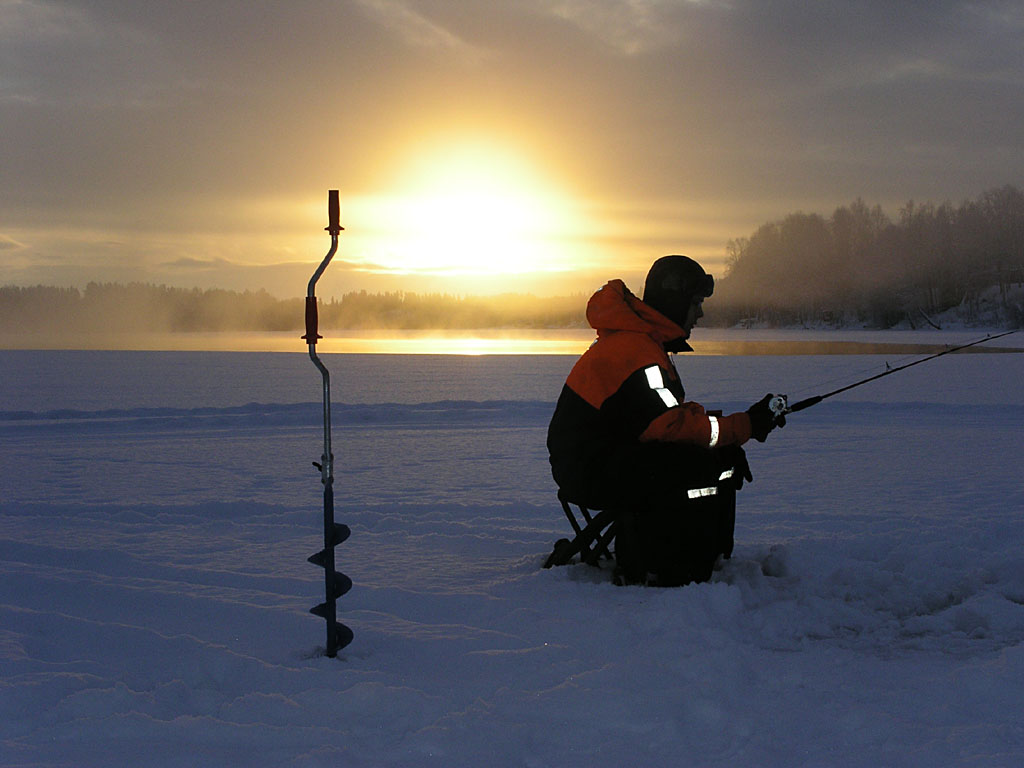 Ice fishing, Swedish Lapland