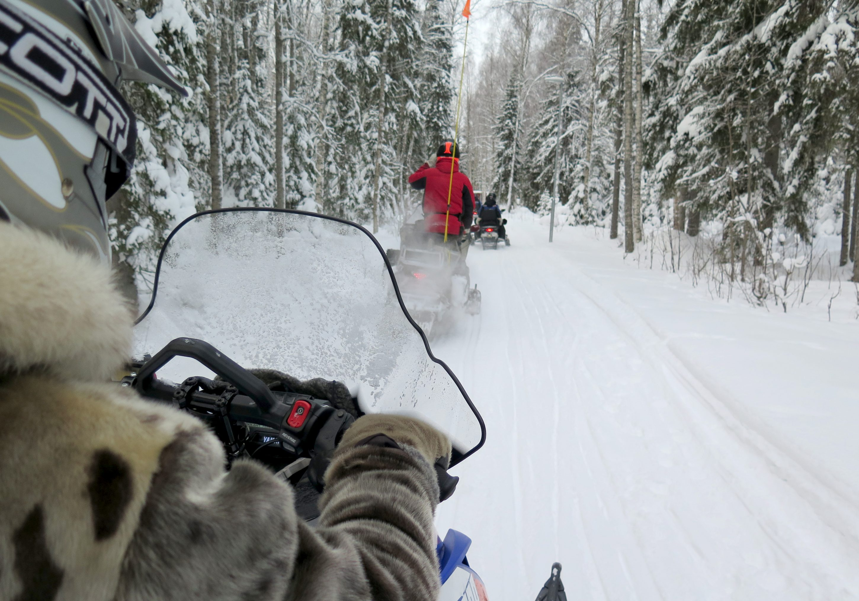 Snow mobile tour in Swedish Lapland.