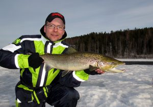 Salmon caught on ice fishing in Swedish Lapland.